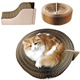 Cat Scratcher Lounge - Bed Collapsible Corrugated Cardboard Scratching Toy Pad Lounge Round Bed - Foldable