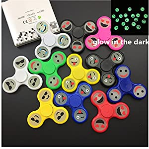 (GoldStore95) 50pcs New Styles Fidget Spinner - Stress Reducer Toy for Kids, Students and Adult - Fidget Spinner Color, Camo, Glow in the Dark Fidget toys for Killing Time (Emoji Glow in the Dark)