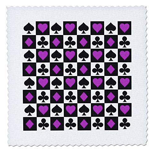 3dRose Anne Marie Baugh - Patterns - Purple and Black Heart, Spades, Diamonds, Clubs Pattern - 14x14 inch quilt square (qs_317947_5) ()