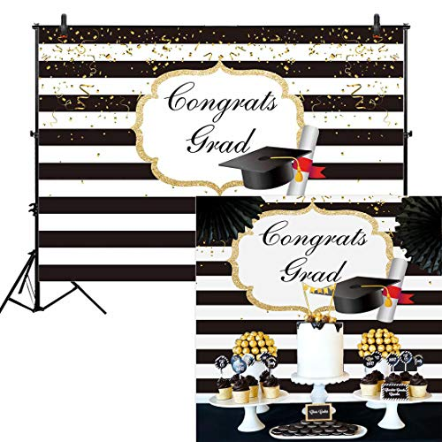 Allenjoy 7x5ft Durable Fabric Graduation Party Backdrop for Pictures Photography Class of 2019 Black and White Stripes Background Congrats Grad Prom Decorations Photo Shoot Studio Booth Props Banner - Printable Buffet