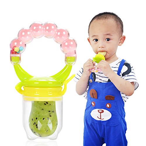 Sealive 1 Pc Baby Pacifiers Baby Food Feeder Teether,Soft Silicone Nipple Soother Teat Bottles with Fresh Fruits Vegetables Feeding (Netted Pacifier)