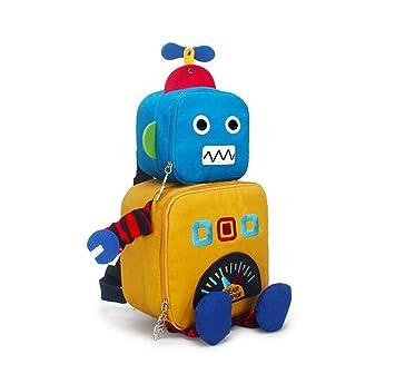 ZJQN Mochila Infantil de la Historieta del jardín de la Infancia, Robot estéreo 3D,