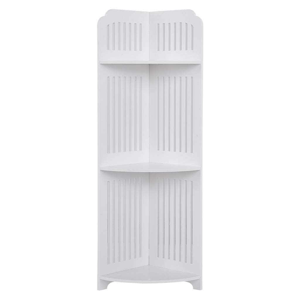 US Fast Shipment Quaanti 3-Tier Corner Shelf Shelving Unit Bathroom Corner Storage Basket Free Standing Storage Rack Bookcase Display Organizer Kitchen Bathroom Floor Shelving Storage (White)