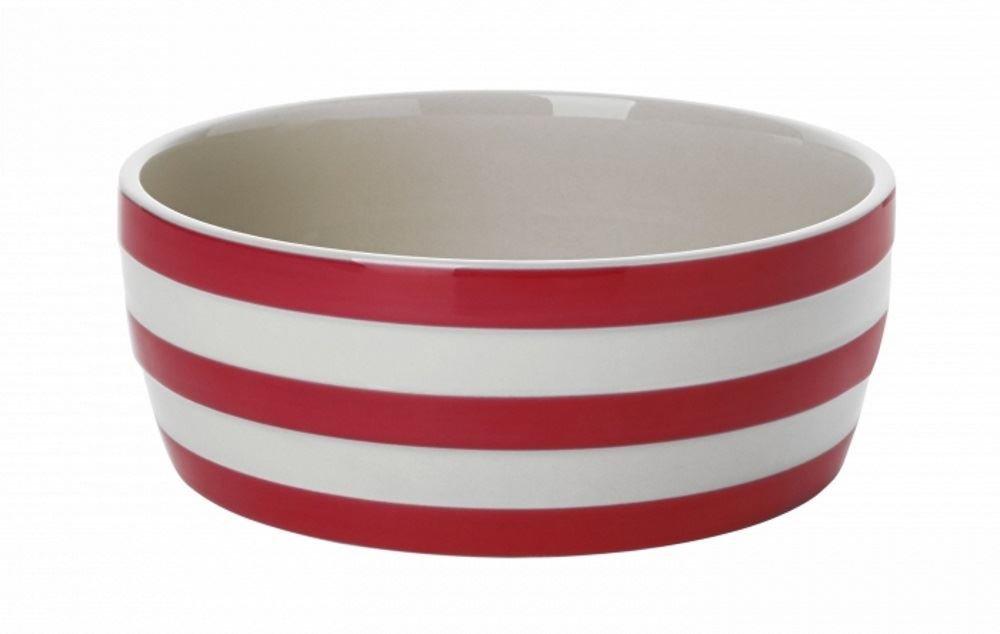 Cornishware Red and White Stripe Stoneware Dog Bowl