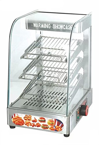 Hanchen Commercial Food Warmer Pizza Pretzel Empanada Churro Heated Display Showcase Hot Storage Display Cabinet for Catering Restaurant 364559cm 110V/220V 3 Tier Stainless Steel with HQ Lamp ()