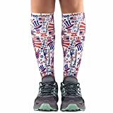 Zensah Compression Leg Sleeves – Helps Shin Splints, Leg Sleeves for Running (X-Small/Small, Independence Doodle-White)