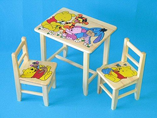 Set in legno tavolino con 2 sedie per cameretta bambini. M1. Ottima idea regalo.Completo in pino con disegno a mano. ipp