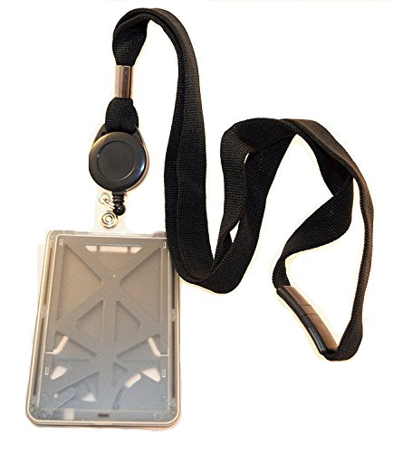 Top Loading Three ID Card Badge Holder with Breakaway Black Lanyard and (Breakaway Badge Lanyards)