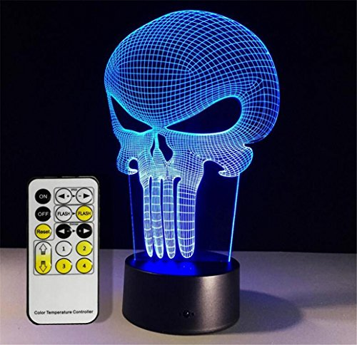 Pendant Light Glass Childrens (W-ONLY YOU-J Illusion 3D Small Night Light Punisher Mask Yoga Colorful Remote Touch Creative LED Visual Lamp Gift Table Lamp , B)