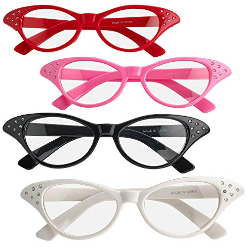 Cat Eye Glasses with Rhinestones - (Pack of 4) Vintage Retro 50s 60s Inspired Clear Non - Prescription Costume Cateye Sunglasses for Women & Kids by Bedwina ()