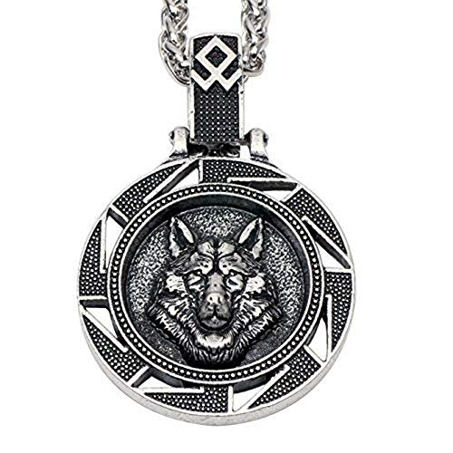 - Paw Paw House Mens Wolf Head Necklace Pendant for Dog Lover Men Norse Viking Warrior Arrow Headed Amulet Jewelry (4116Si)