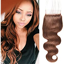 Top Hair Peruvian Virgin Human Hair Body Wave Medium Brown Colored 4x4 Lace losure #4 Lace Closure with Baby Hair Bleached Knots(10 inch)