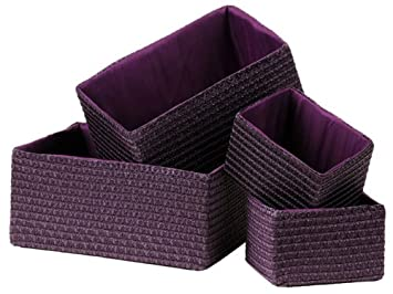 BRAND NEW SET OF 4 STRAW STORAGE SQUARE BASKETS IN PURPLE: Amazon.co.uk:  Kitchen U0026 Home
