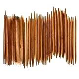 #7: Whitelotous 55Pcs 11sizes Double Pointed Carbonized Bamboo Knitting Needles 5