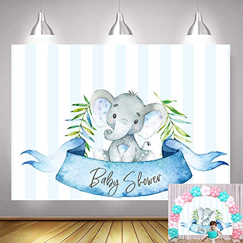 Fanghui 5x3ft Blue Stripe Elephant Photography Backdrop Baby Shower Birthday Party Dessert Table Decorations Background Banner Supplies Photo Booth Props]()
