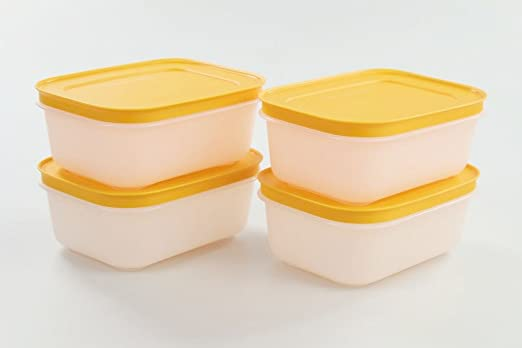 Tupperware (4) 450 ml latas de copo Congelador Depósito Naranja de ...