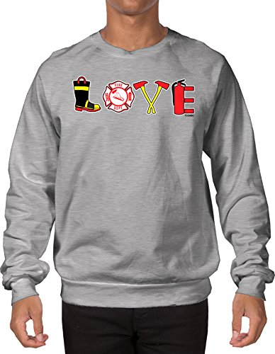 Tcombo Love Firefighter Adult Crewneck Sweatshirt (Light Gray, Large)