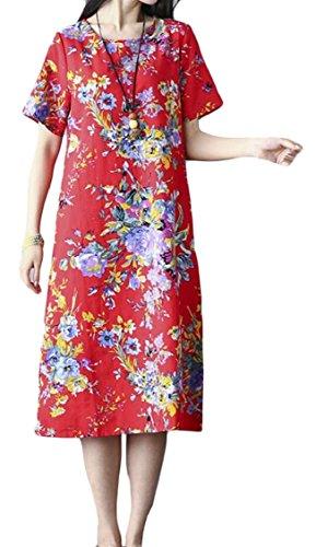 Jaycargogo Linge Surdimensionné De Femmes Imprimé Floral Manches Courtes Rouge Robe Midi