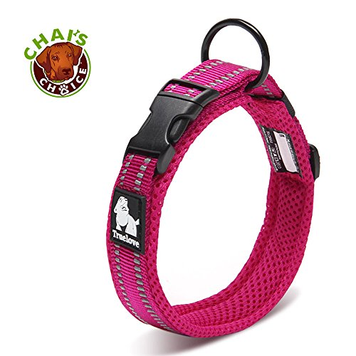 Chais Choice Best Padded Comfort Cushion Dog Collar for Small, Medium, and Large Dogs and Pets. Perfect Match Front Range Harness Leash. (Large, Fuchsia)