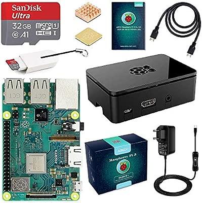 A ABOX Raspberry Pi 3 B+ Starter Kit con Micro SD de 32GB Clase 10, 5V 3A Adaptador de Corriente con Interruptor, 2 Radiadores, Cable HDMI, Caja de ...