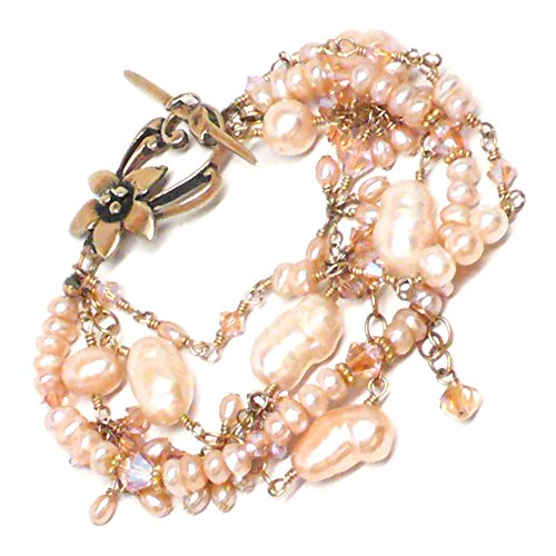Bridal Statement Bracelet Four-Strand Freshwater Peach Cultured Pearl Crystal Cluster Drop Gold-Filled ()
