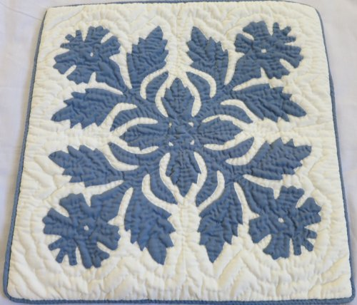 Hawaiian quilt 2 throw pillow cover 16x16 100% hand quilted/100% hand appliqued