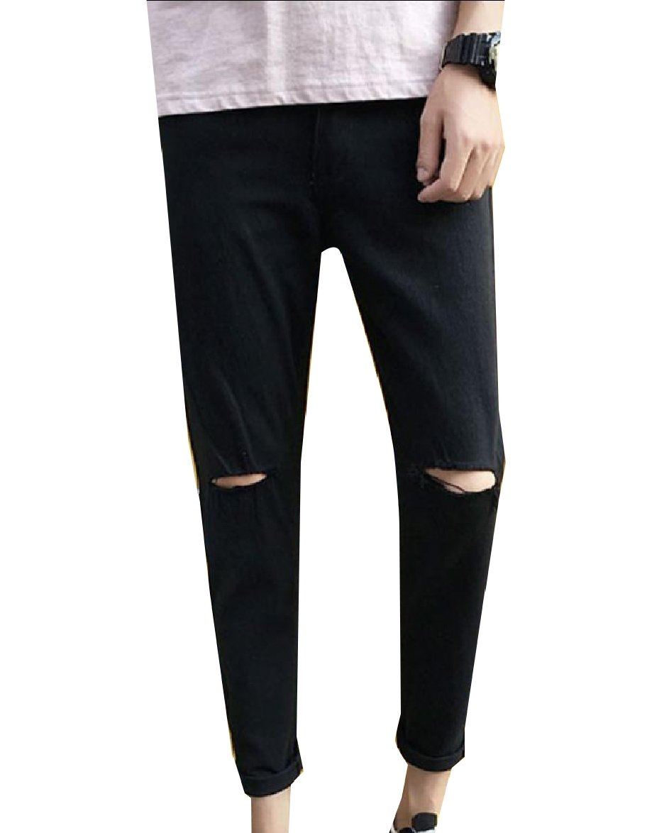 Fseason-Men Slim-Tapered Wild Juniors' Stylish Ripped Fine Cotton Denim Pants Black 32