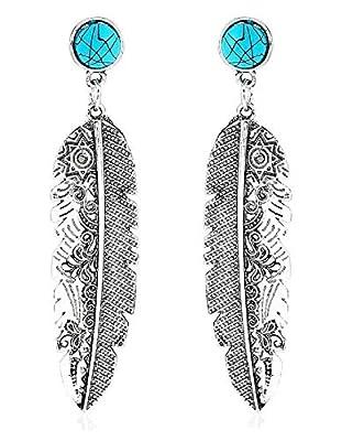 Turquoise Stone Feather Dangle Earrings