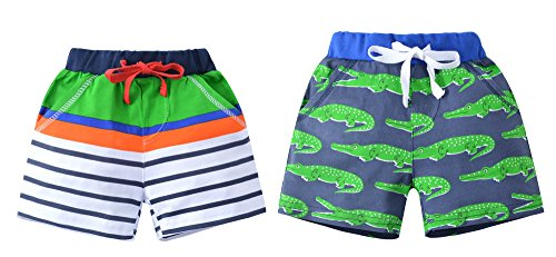 HUAER& Baby Boys Cotton Shorts (3T, Crocodile and Stripes) Crocodile Short
