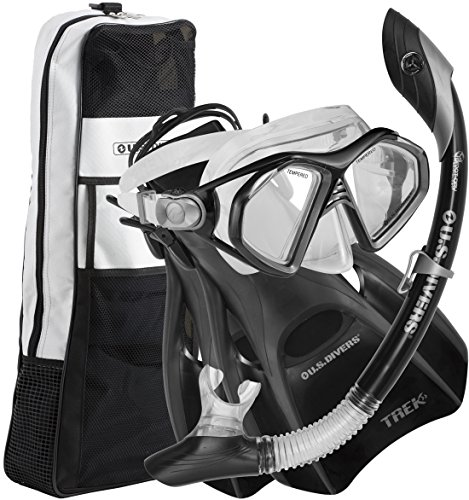US Divers Admiral LX Island DryTrek Snorkel Set2012,Black,Large ()