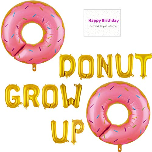 Donut Grow Up Balloons and Birthday Card Set: (2) 29 Inch Pink Sprinkle Donuts, (11) 16 Inch Gold Letter Balloons, and Birthday Card for First Birthday Party or Any Age