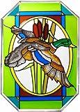 Mallard Duck Vertical Octagon Art Glass Panel 7 x 10