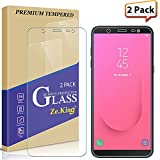 [2-Pack] Samsung Galaxy J8 2019 Tempered Glass Screen Protector, ZeKing 0.33mm 2.5D Edge 9H Hardness [Anti Scratch][Anti-Fingerprint] Bubble Free, Lifetime Replacement Warranty