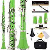 Mendini by Cecilio B Flat Beginner Student Clarinet with 2 Barrels, Case, Stand, Book, 10 Reeds, Mouthpiece and Warranty