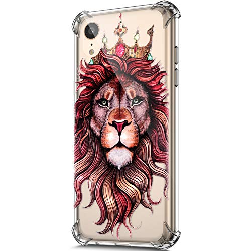 Price comparison product image ikasus Case for iPhone XR, Clear Embossed Art Painted Pattern Design Soft & Flexible TPU Ultra-Thin Shockproof Transparent Girls Women TPU Case Cover for iPhone XR Silicone Case, Lion