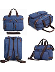 Clean Vintage Hybrid Laptop Backpack Messenger Bag / Convertible Briefcase Backpack BookBag Rucksack Satchel Waxed...