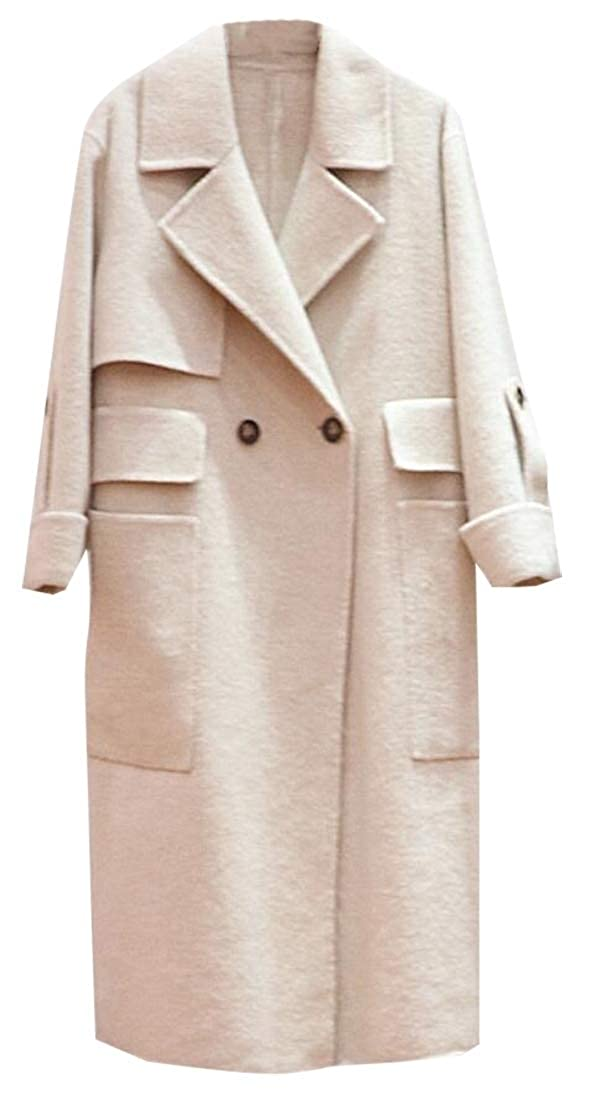 1 Sanderso Women's Laple Classic Double Breasted Long Wool Trench Coat Overcoat