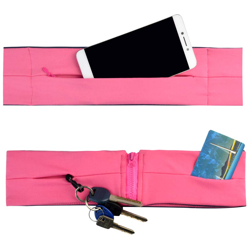 mifengdaer Running Belt 3 Pockets Fitness Belt Waist Belt Flip Belt with zipper Key Clip Waistband for Phones, Keys or Cards, Jogging, Yoga, Cycling, Walking, Sport, Travel & Outdoor Activities