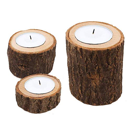 Chris.W Pack of 3 Tea Light Candle Holders Bark Wooden Pillar Candlestick Holder Set for Rustic Wedding, Party, Birthday, Holiday Decoration