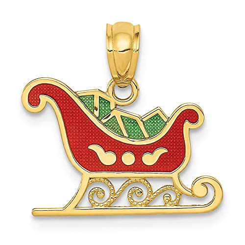(14K Yellow Gold Enameled Sleigh Pendant from Roy Rose Jewelry)