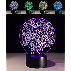 W-ONLY YOU-J 3D Visual Led Night Lights Colorful Kids Touch USB Baby Sleeping Nightlight (Peacock Open)(Control /Touch)