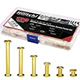 Hilitchi 60-Sets M5 x 5/10/15/25/35/45 Golden Phillips Chicago Screw Binding Screws Posts Assortment Kit for Scrapbook Photo Albums Binding and Leather Saddles Purses Belt Repair