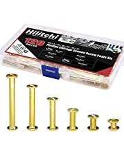 Hilitchi 60-Sets M5 x 5/10 / 15/25 / 35/45 Golden Phillips Chicago Screw Binding Screws Posts Assortment Kit for Scrapbook Photo Albums Binding and Leather Saddles Purses Belt Repair