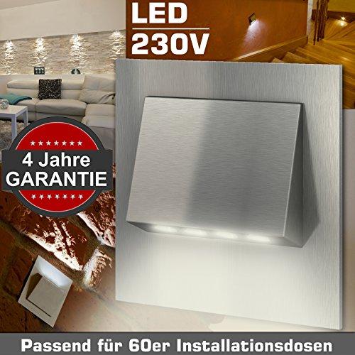 Wandeinbauleuchte TERAMO Edelstahl 230V LED ca. 1 Watt; GARANTIE 4 Jahre; IP20 Warm-Weiß Wandleuchte Treppenbeleuchtung Wandstrahler Treppenleuchte passend für 60er Schalterdosen Installationsdosen