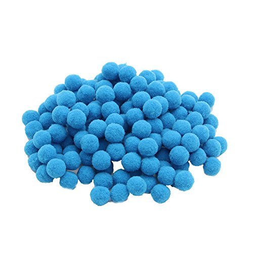 144pcs 15mm Pompom Fur Ball Craft Pom pom DIY Handmade Kids Toys Accessories (Blue)