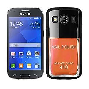 """Funda carcasa para Samsung Galaxy Ace 4 diseño pintauñas naranja """"Orange Tonic"""" 410 borde negro"""