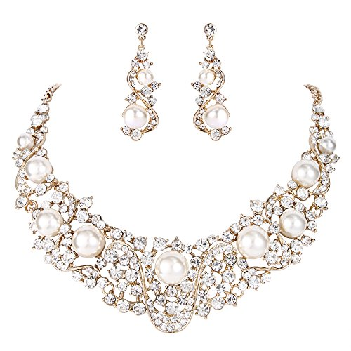 (EVER FAITH Flower Ribbon Ivory Color Cream Simulated Pearl Austrian Crystal Necklace Earrings Set - Gold-Tone)