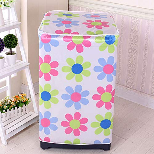 Washing Machine Cover Accessory Waterproof Bathroom Protective Floral Printed Cute Decoration Zipper Home Front Loading Dust Proof Case Easy To Clean(Windmills) ()