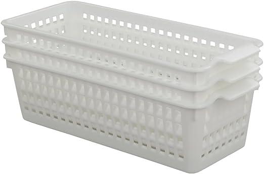 Fosly Cestas de Plastico Pequeña, Cesta Almacenamiento Blanca, Paquete de 6: Amazon.es: Hogar