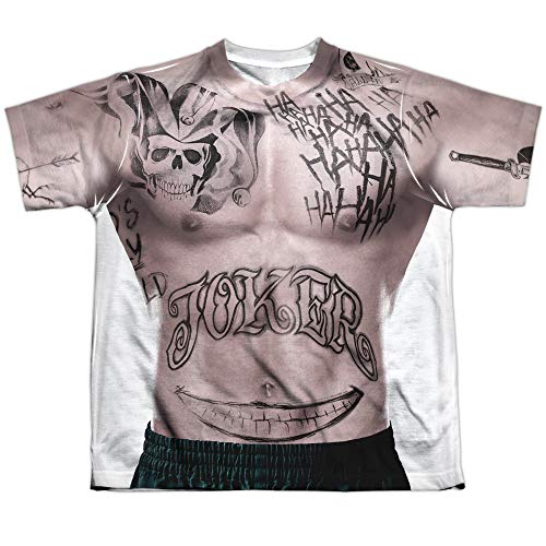 Suicide Squad DC Joker Tattoos Torso Costume Boys Youth Front Print T-Shirt Tee]()